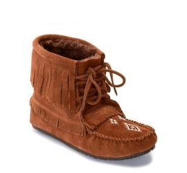 Harvester Copper Suede Fleece-Lined Fringe Moccasin Boot