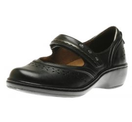 Dolly Black Leather Mary Jane Flat
