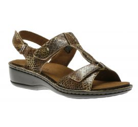 Collette Brown Print T-Strap Sandal