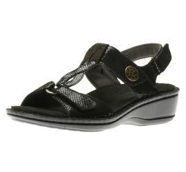 Collette Black Print T-Strap Sandal