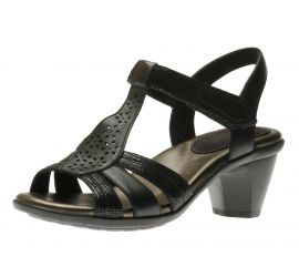 Mary Black T-Strap Heeled Sandal
