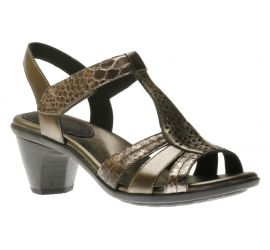 Mary Pewter T-Strap Heeled Sandal