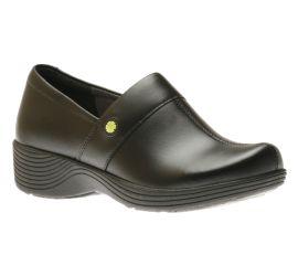 Camellia Black Leather Clog