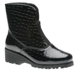 Front Zip Black Croc