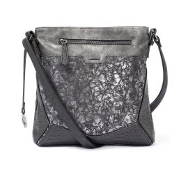 Metallic Grey Floral Handbag