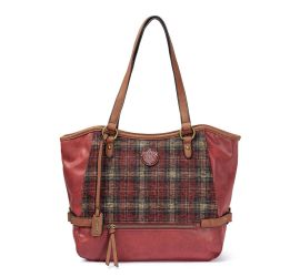 Red Tartan Print Handbag
