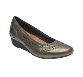 Judson Metallic Perforated Leather Wedge Pump